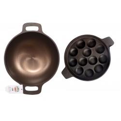 Qualy Investo 10 inches Cast Iron Kadai and 12 cavity Cast Iron Paniyaram Patra