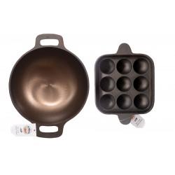 Qualy Investo 10 inches Cast Iron Kadai and 9 cavity Cast Iron Paniyaram Pan