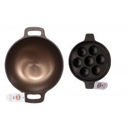 Qualy Investo 10 inches Cast Iron Kadai and 7 cavity Cast Iron Paniyaram Pan