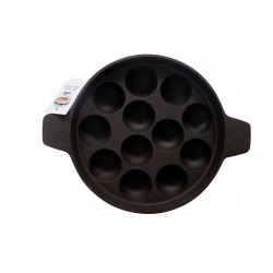 Qualy Investo cast iron padu tawa KuzhiPaniyaram satti/Paneyara satti/ Kaarakuzhi/Appam Patra12 holes 9 inch