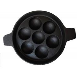 Qualy Investo 7 Cavity Cast Iron Paddu Tawa Appam Patra Paniyarakkal Kuzhi Paniyaram (Black Preseasoned)